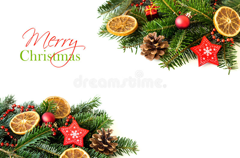 Border With Christmas Tree Branches And Decorations. Border With Christmas Tree Branches And Festive Decorations royalty free stock photo