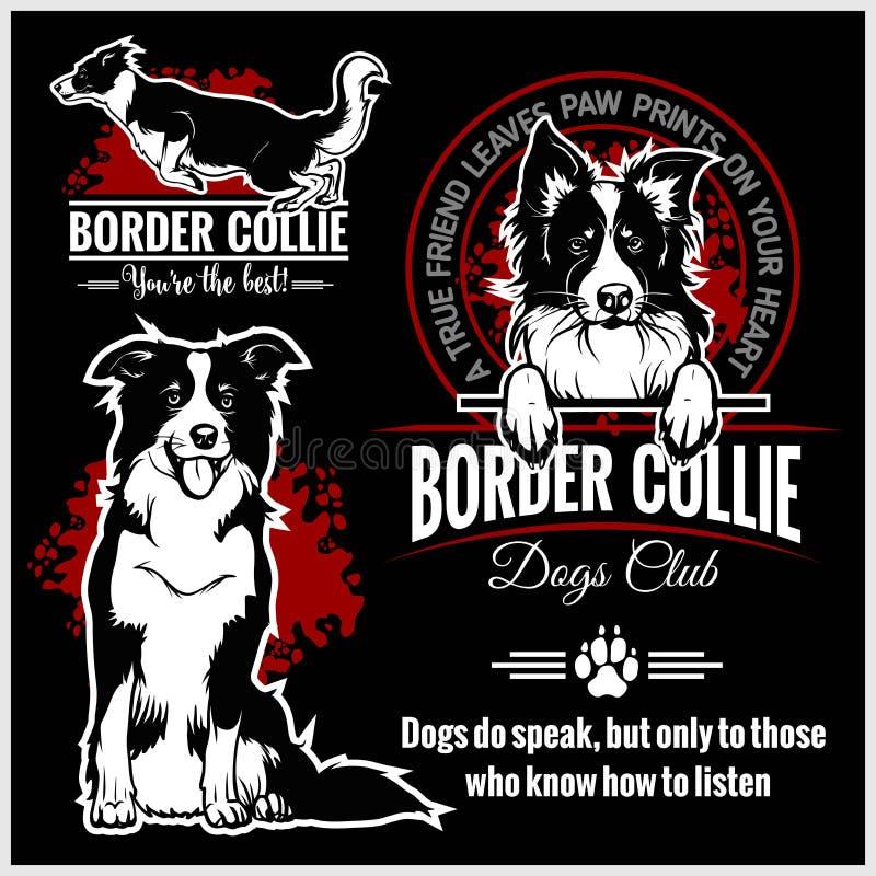 Border collie - ensemble de vecteur pour des insignes de T-shirt, de logo et de calibre illustration libre de droits