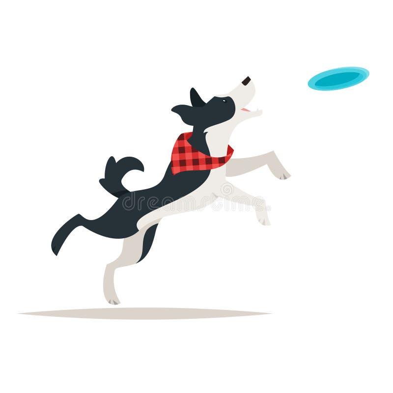 Border collie-hond die Frisbee in werking stellen vector illustratie