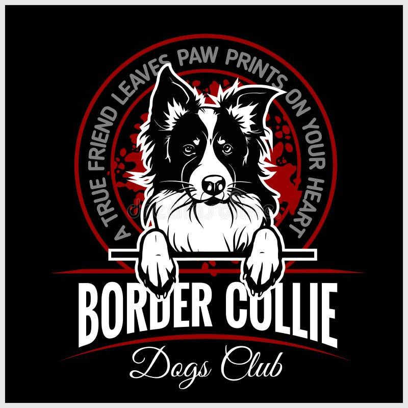 Border collie - illustration de vecteur pour des insignes de T-shirt, de logo et de calibre illustration de vecteur