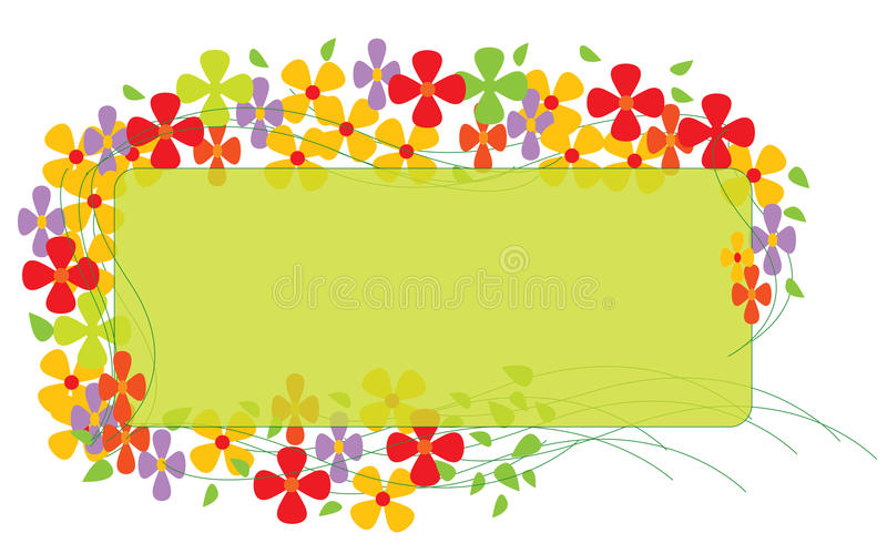 Border with Colorful Flowers. And light green area to add text or other images - illustrated art work stock illustration