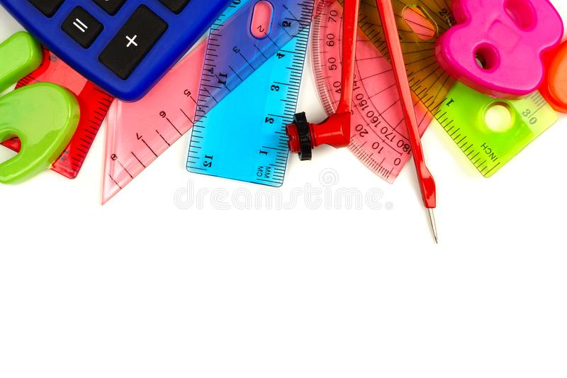 border of colorful math themed school supplies stock photo
