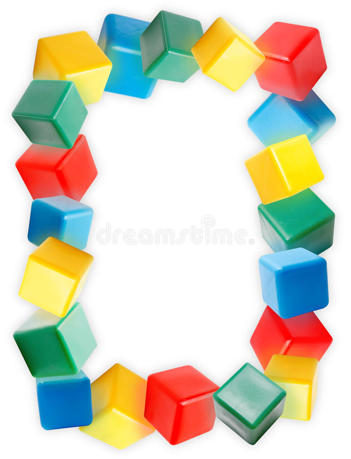 Border of the colorful plastic blocks. On white background stock photography