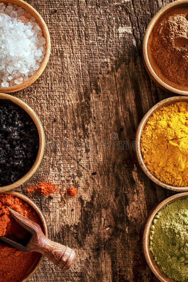Download Border Of Colourful Spice In Bowls Stock Image - Image: 33388753