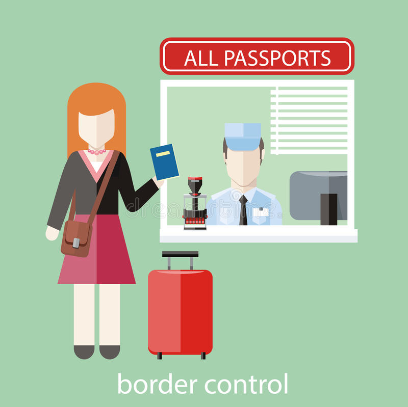 Border control concept. In flat design. Woman gives a passport to check customs officers stock illustration