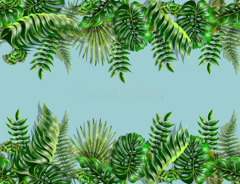 Border and corner with tropical leaves. Monstera, fern and palm leaves border seamless on blue background. stock illustration