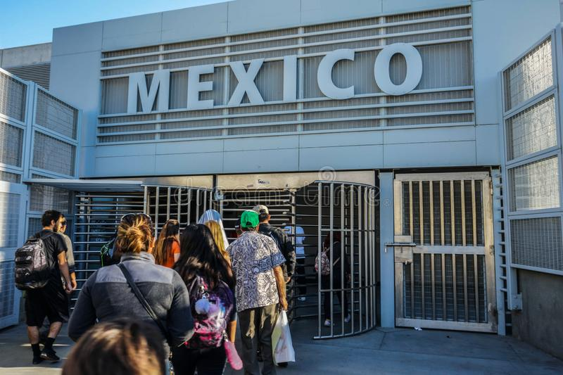 Border Crossing, San Ysidro in to Tijuana, Mexico royalty free stock photo