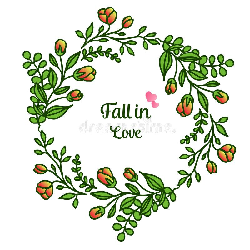 Border of cute drawing leaf floral frame, for template of card fall in love. Vector. Illustration stock illustration