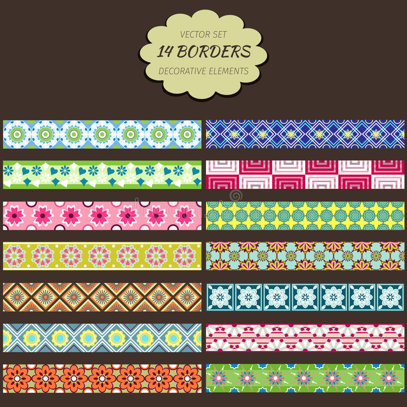 Border decoration elements patterns vector illustration