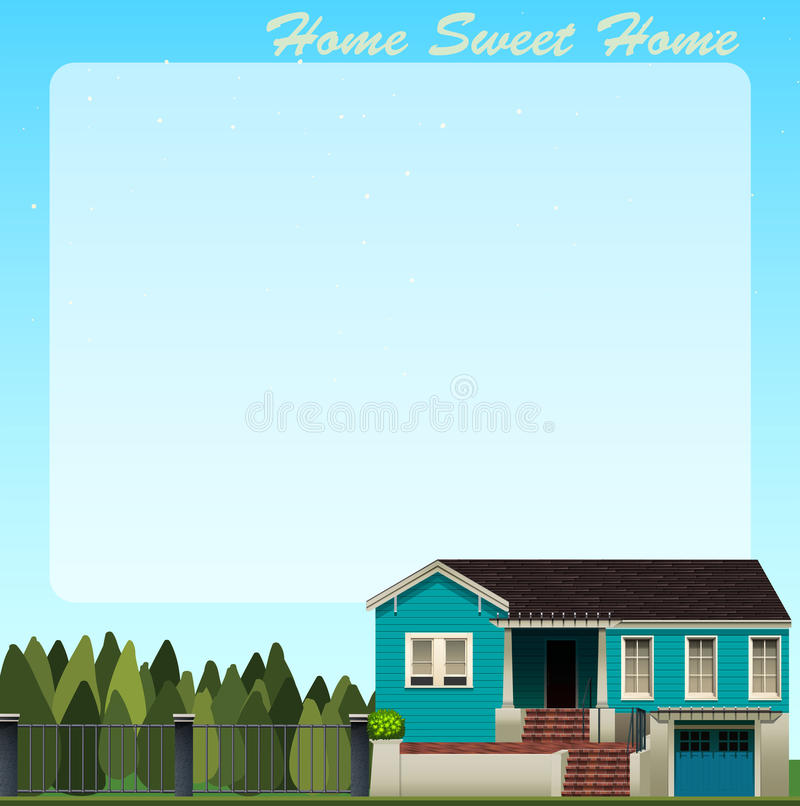 Border Design With Blue House Stock Vector - Illustration ...