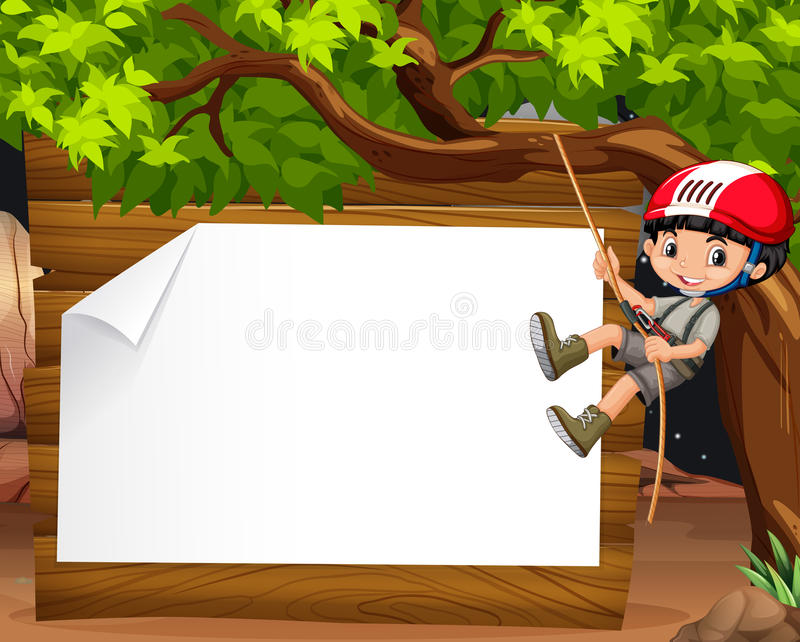 border design with boy climbing the tree stock vector