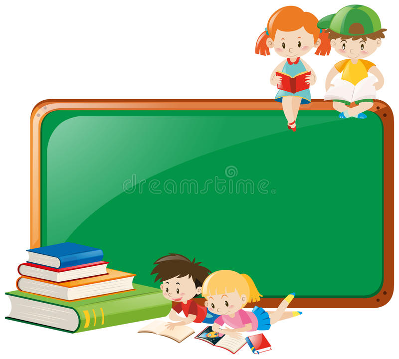 Border Design With Children Reading Books Stock Vector ...