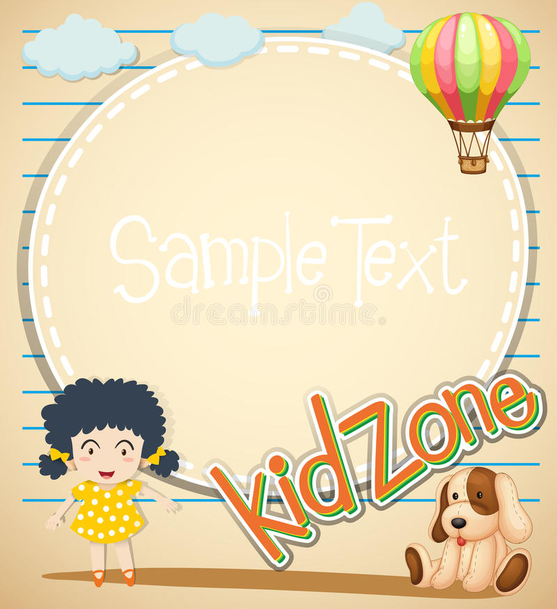 Border design with girl and toys royalty free illustration