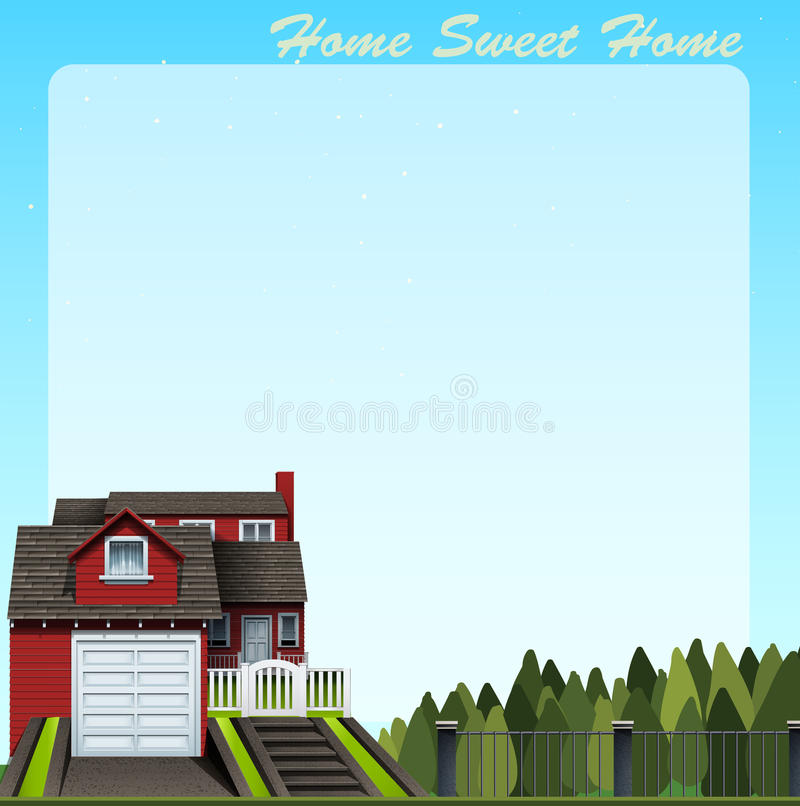 Border Design With Home Sweet Home Stock Vector Image