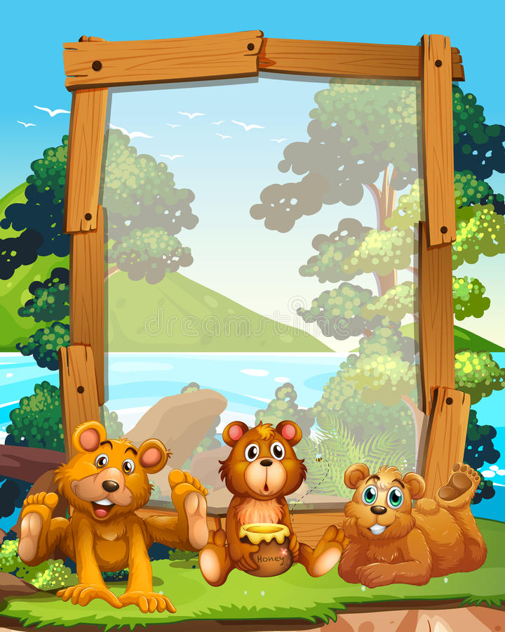 Border design with three grizzly bears by the lake stock illustration