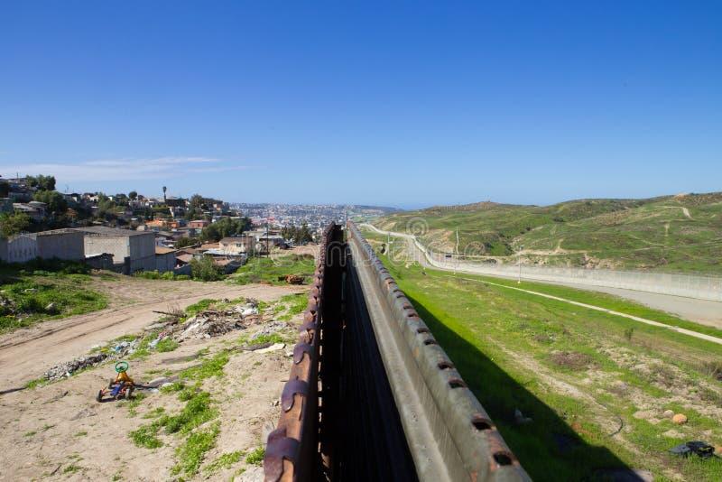 The border fence dividing U.S. and Mexico. Tijuana, Baja California, Mexico - February 2, 2017. View above the border fence Separating U.S. from Mexico stock images