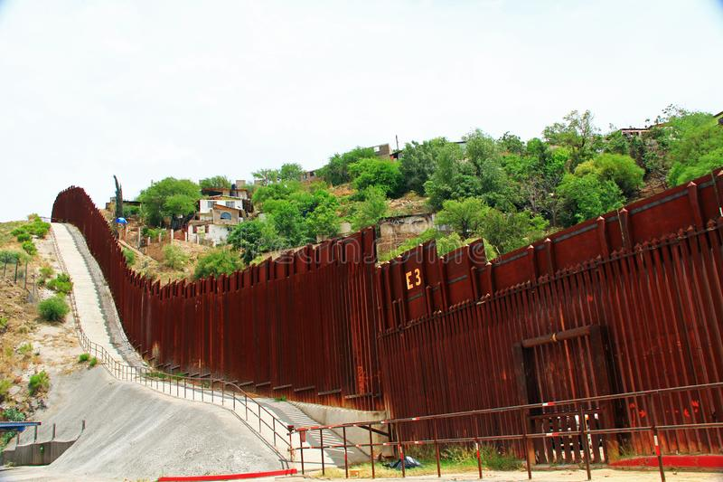 Border Fence Separating the US from Mexico in Nogales, Arizona royalty free stock image