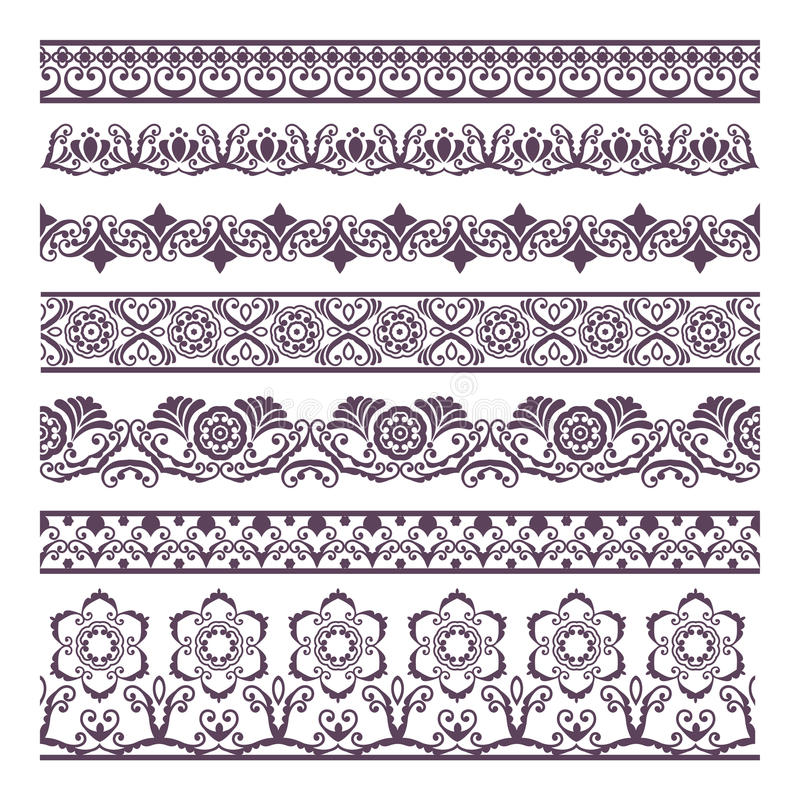 Border Floral Silhouettes Illustration Set for banners and ethn vector illustration