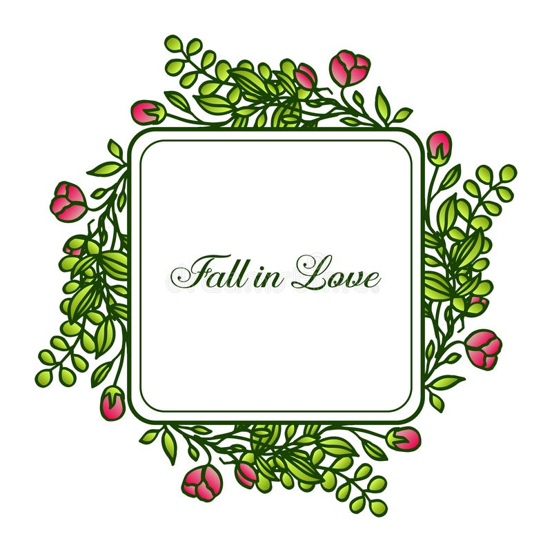 Border of flower frame and foliage, for greeting card fall in love. Vector. Illustration stock illustration