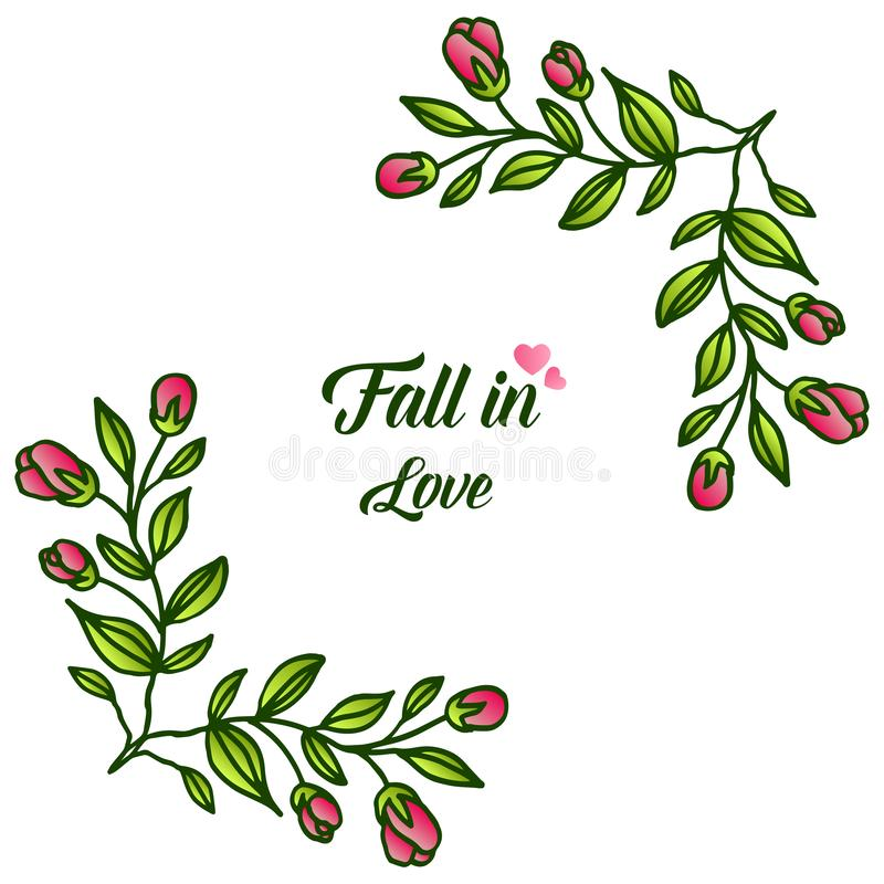 Border of flower frame and foliage, for greeting card fall in love. Vector. Illustration vector illustration