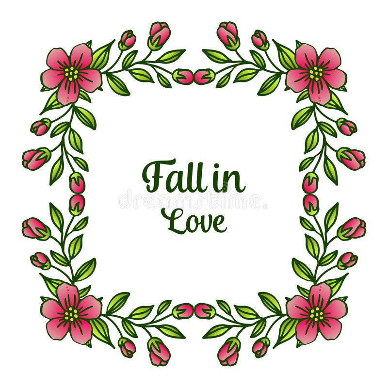 Border of flower frame and foliage, for greeting card fall in love. Vector. Illustration royalty free illustration
