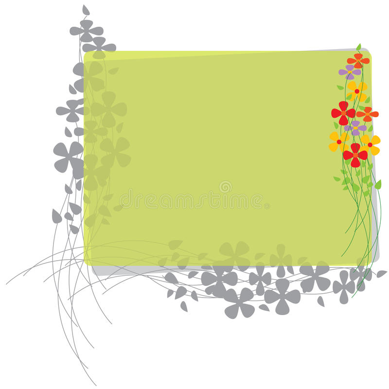 Border with Flowers and lines. Colorful border with gray flowers and lines. Light green area to add text or other images - illustrated vector art work stock illustration