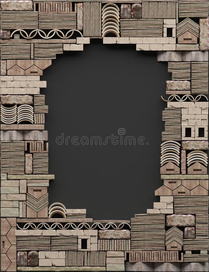 Border frame on black background with decorative stonework. Ð¡opy space. Ruined wall of stone blocks and bricks with pattern vector illustration