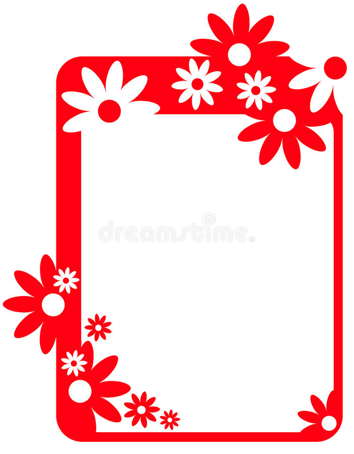 Border frame with coral flowers royalty free illustration