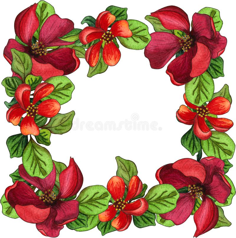 Border or frame made of red blooming Japanese Quince flowers and green leaves. Watercolor floral illustration stock illustration