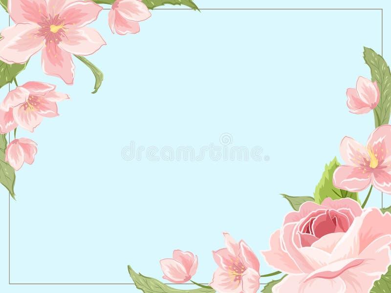 Border frame template corners rose sakura magnolia. Border frame template corners decorated with pink rose magnolia sakura hellebore flowers on blue background royalty free illustration