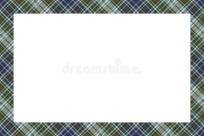Border frame vector vintage background. Plaid pattern fabric texture. Tartan ribbon collage photo frames in retro style royalty free illustration