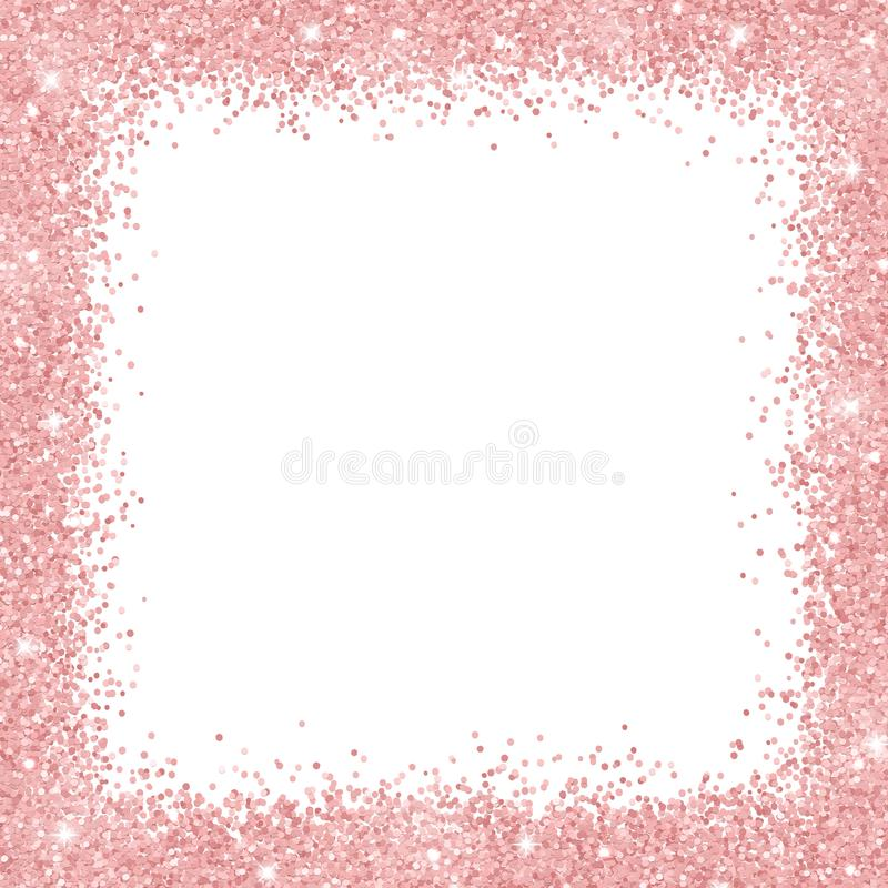 Free Border Frame With Rose Gold Glitter On White Background. Vector Royalty Free Stock Photo - 109186375