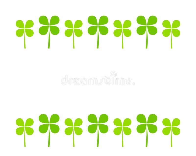 Border of green clover leaves on white background vector illustration
