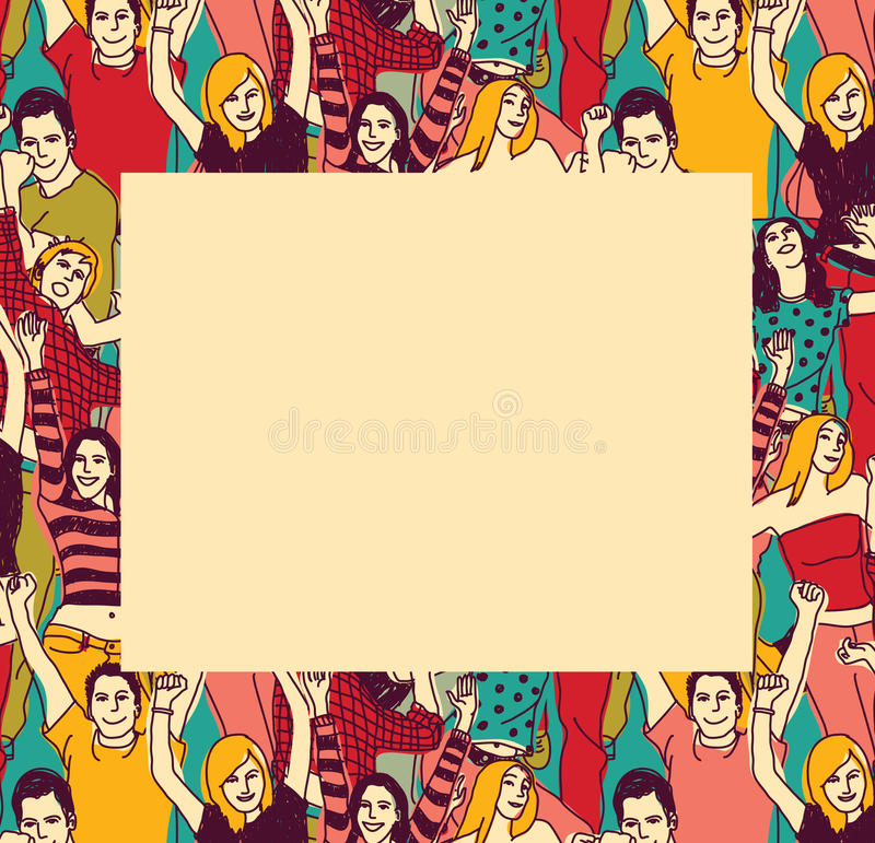 Border With Happy Young People Frame Color Stock Vector ...