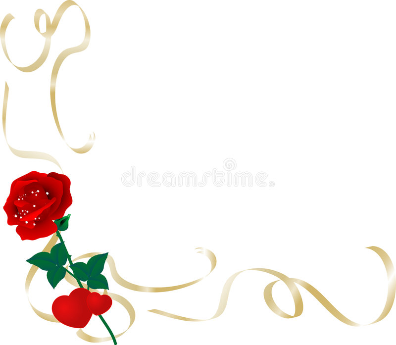 Border with hearts and rose. Vector illustration stock illustration