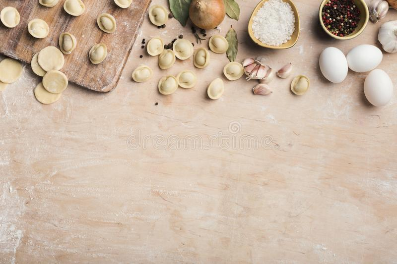 Border of ingredients for cooking dumplings royalty free stock photos
