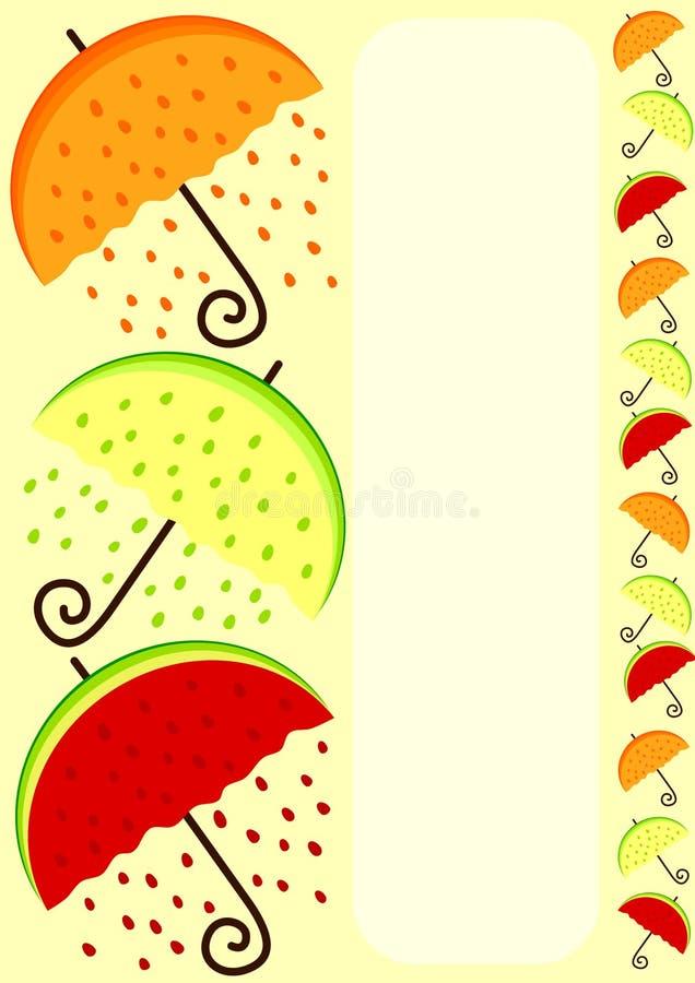 Border inramar med paraplyer i orange citron, och vattenmelonen formar stock illustrationer