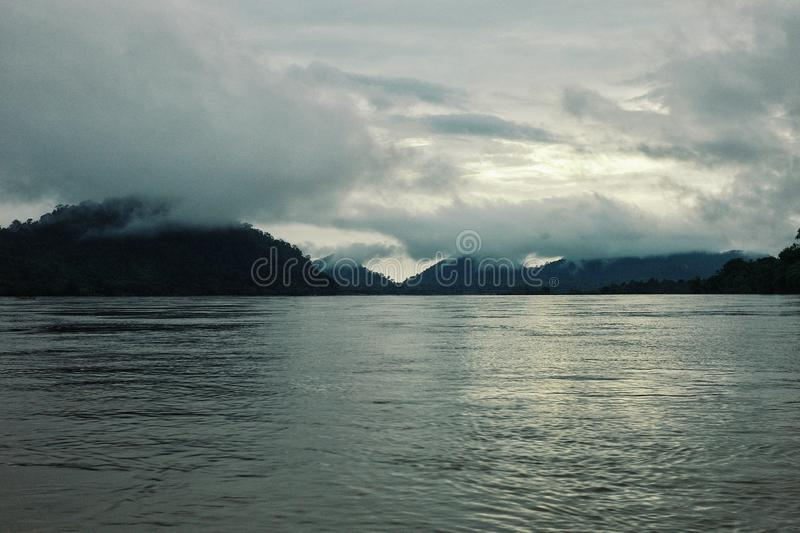 border are between laos and cambodia on the mekong river royalty free stock images