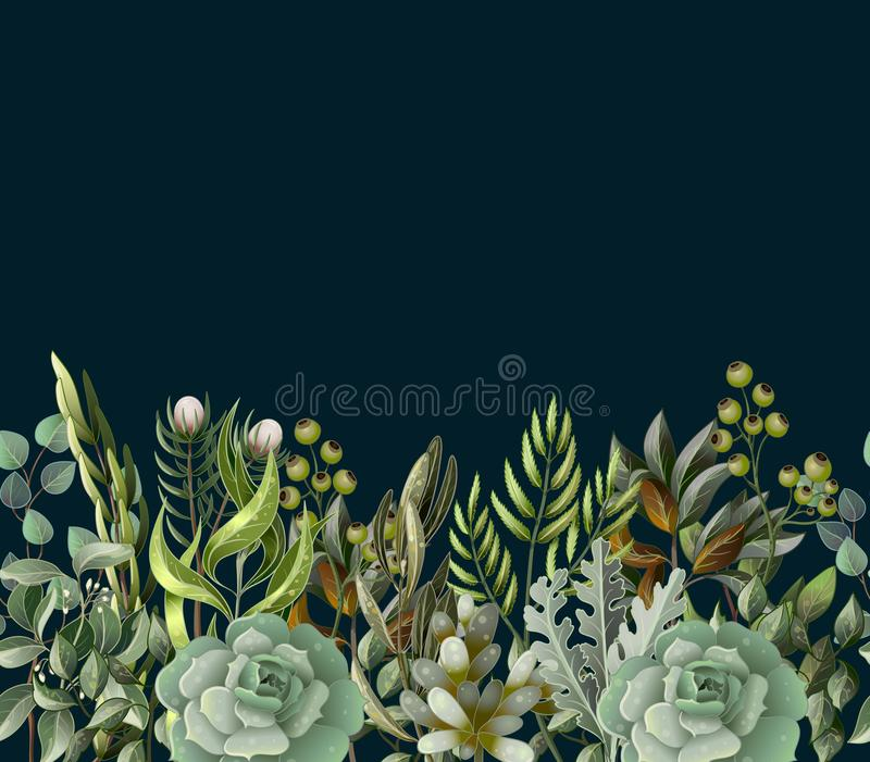 Border with leaves and succulent in watercolor style. Eucalyptus, magnolia, fern and other vector illustration. Border with leaves and succulent in watercolor royalty free illustration
