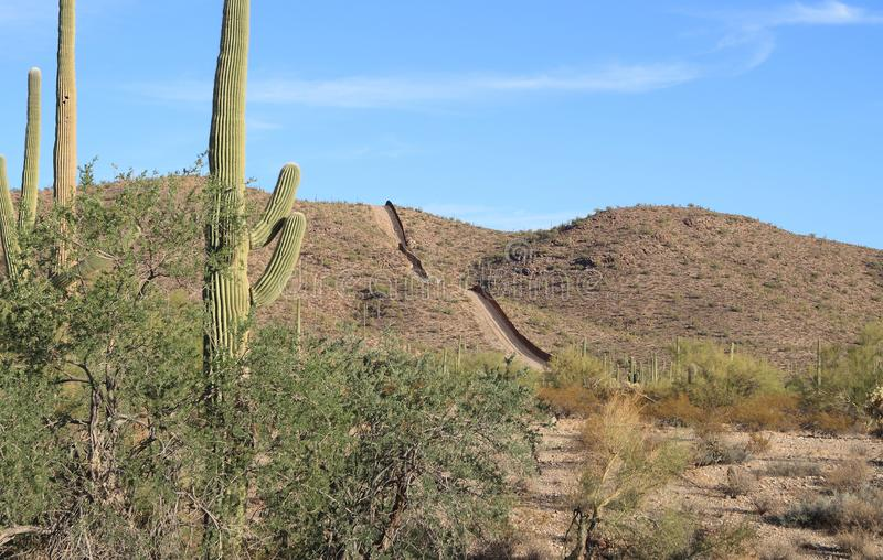 US - Mexican Border in Sonoran Desert royalty free stock image