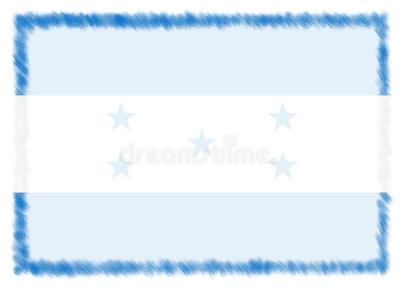 Border made with Honduras national flag. Brush stroke frame. Template elements for your certificate and diploma. Horizontal orientation stock images