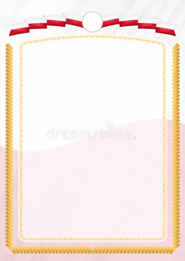 Border made with Malta national flag. Brush stroke frame. Template elements for your certificate and diploma. Vertical orientation royalty free illustration