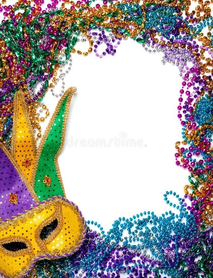 Free Border Made Of Mardi Gras Bead And Mask On White Royalty Free Stock Photos - 12104788