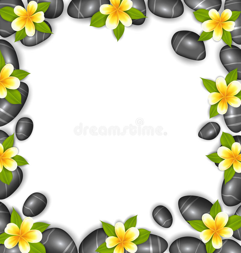 Border Made in Stones and Tropical Beautiful Flowers. Illustration Border Made in Stones and Tropical Beautiful Flowers, Copy Space for Your Text - Vector royalty free illustration