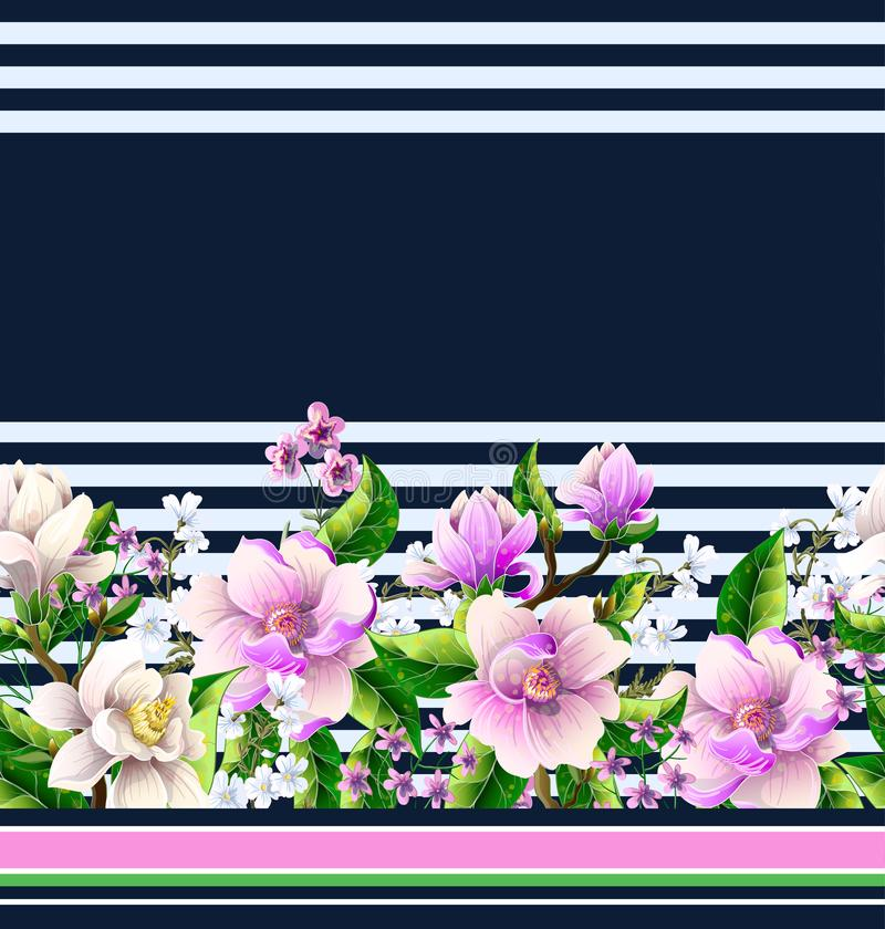 Border with magnolia flowers. Vector illustration. Border with magnolia flowers. Vector royalty free illustration