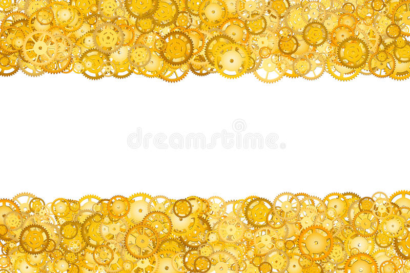 Border with many gears. Golden frame of gears. Technological frame. Mechanical design. Yellow cogs. Border with many gears. Golden frame of gears. Technological stock images