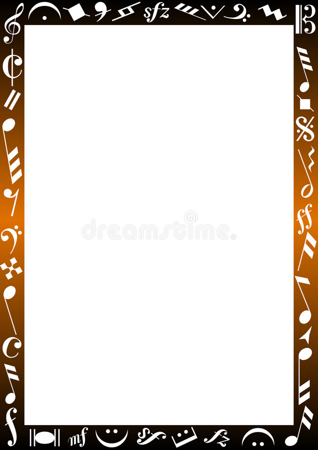 Border with music signs stock illustration
