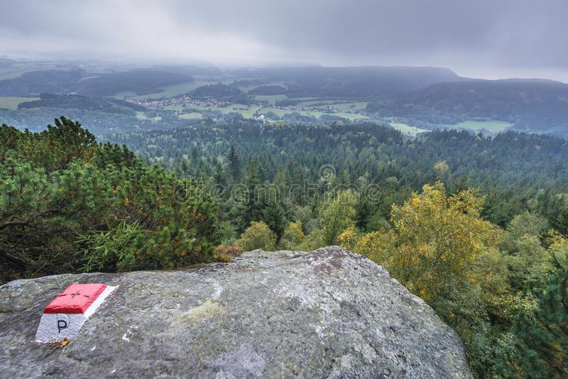 Stolowe Mountains in Poland. Border newteen Poland and Czech Republic near tourist attraction of Table Mountains called Errant Rocks in Sudetes stock image