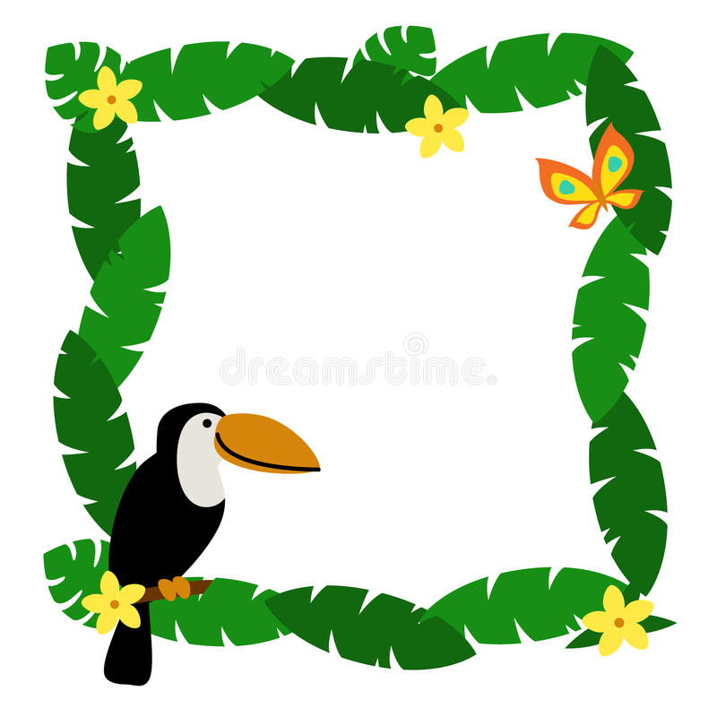border with palm leaves and cute cartoon smiling toucan stock vector rh dreamstime com