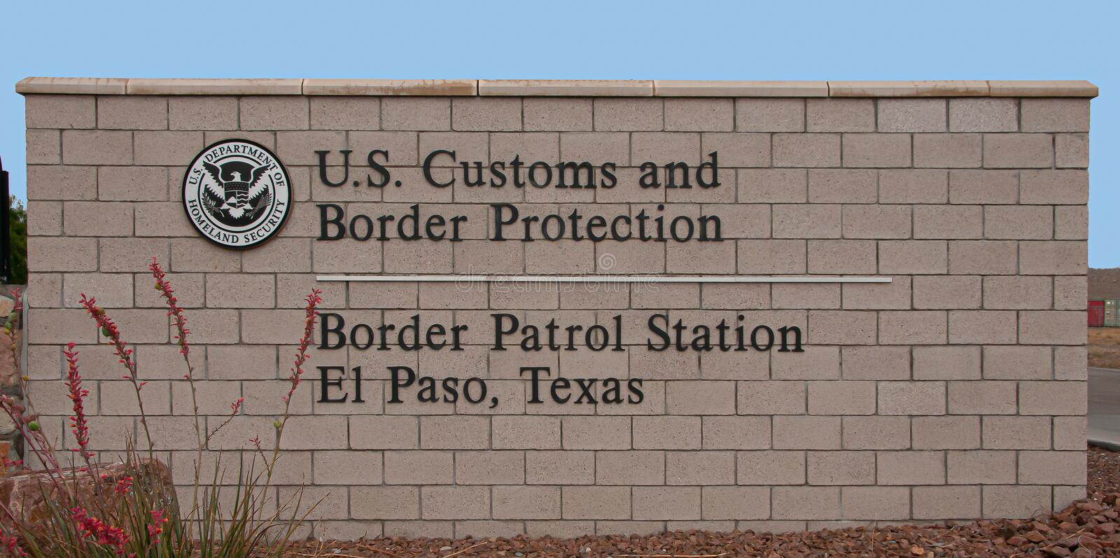 Border Patrol Station, El Paso Texas main entrance sign. royalty free stock image